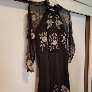 NWT Topshop Blk Mesh and Floral Mini Dress